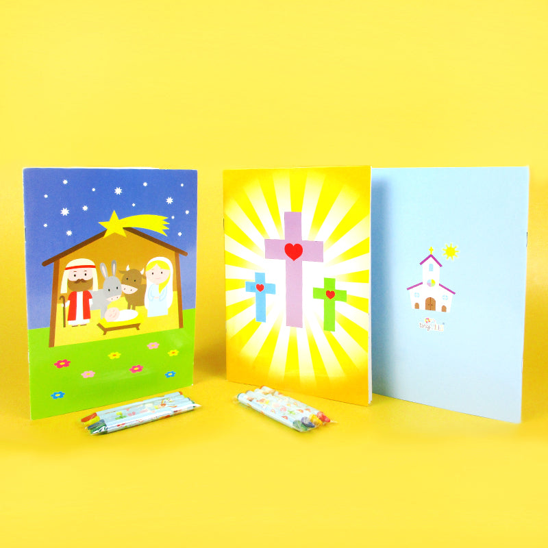 Religious Coloring Books - Set Of 6 Or 12 - Tiny Mills®
