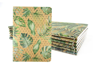 Tropical Palm Leaves Journal Notebooks - Set of 6 or 12