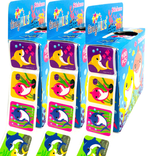 Shark Family Stickers 100 Stickers/Dispenser, Pack of 12 Dispensers