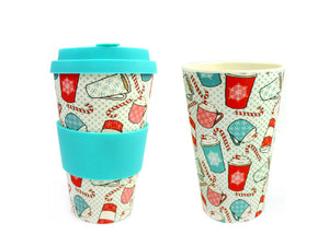 Eco-Friendly Reusable Plant Fiber Travel Mug with Christmas Coffee Design - Travel Mug | Tiny Mills®