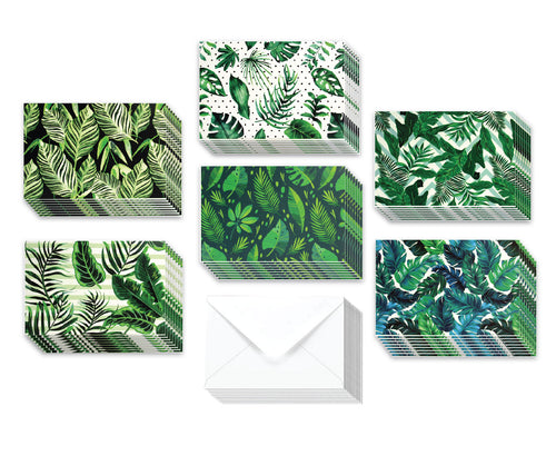 Tropical Plants - 36 Pack Assorted Greeting Cards for All Occasions - 6 Design