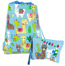Llamas Drawstring Backpack with Wristlet 2 Piece Set Travel Gym Cheer (Blue) $ 9.99 Tiny Mills®