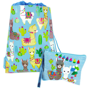 Llamas Drawstring Backpack with Wristlet 2 Piece Set Travel Gym Cheer (Blue) - Drawstring Backpack | Tiny Mills®
