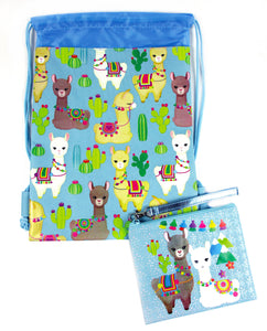 Llamas Drawstring Backpack with Wristlet 2 Piece Set Travel Gym Cheer (Blue)