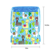 Load image into Gallery viewer, Llamas Drawstring Backpack with Wristlet 2 Piece Set Travel Gym Cheer (Blue)