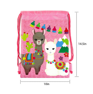 Llamas Drawstring Backpack with Wristlet 2 Piece Set Travel Gym Cheer (Pink) $ 9.99 Tiny Mills®
