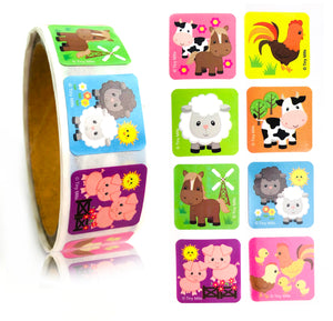 Farm Animals Barnyard Stickers 100 Stickers/Dispenser, Pack of 1 or 6 or 12 Dispensers