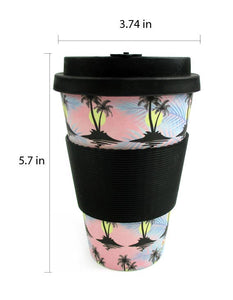 Eco-Friendly Reusable Plant Fiber Travel Mug with Cool Island Design