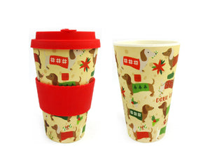Eco-Friendly Reusable Plant Fiber Holiday Travel Mug with Christmas Wiener Dog Design