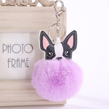 Load image into Gallery viewer, French Bulldog Pom Pom Keychain - Purple