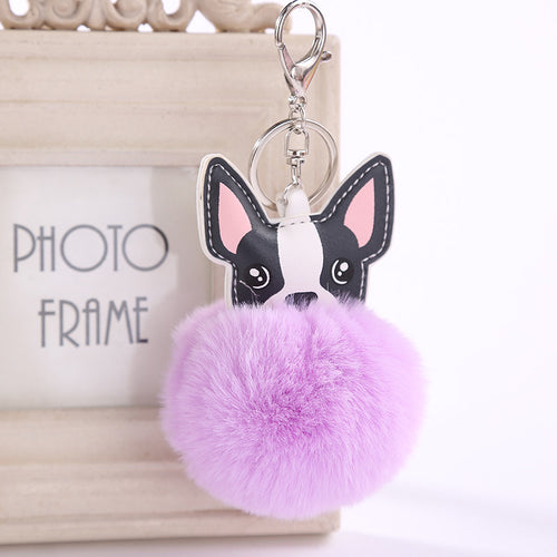 French Bulldog Pom Pom Keychain - Purple
