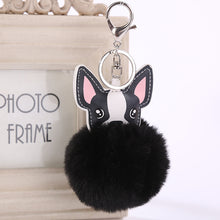 Load image into Gallery viewer, French Bulldog Pom Pom Keychain - Black