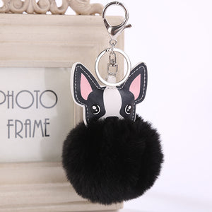 French Bulldog Pom Pom Keychain - Black
