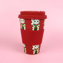 Load image into Gallery viewer, Eco-Friendly Reusable Plant Fiber Travel Mug with Maneki Neko Lucky Cat Design