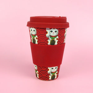 Eco-Friendly Reusable Plant Fiber Travel Mug with Maneki Neko Lucky Cat Design