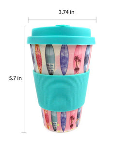 Eco-Friendly Reusable Plant Fiber Travel Mug with Sunset Surfboard Design - Travel Mug | Tiny Mills®