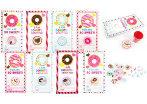 Donuts Valentine's Day Cards with Stampers for Classroom Exchange