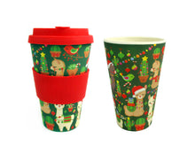 Load image into Gallery viewer, Eco-Friendly Reusable Plant Fiber Holiday Travel Mug with Christmas Llama Alpaca Design