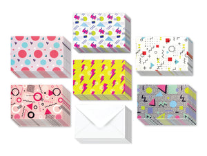 80's Colored - 36 Pack Assorted Greeting Cards for All Occasions - 6 Design