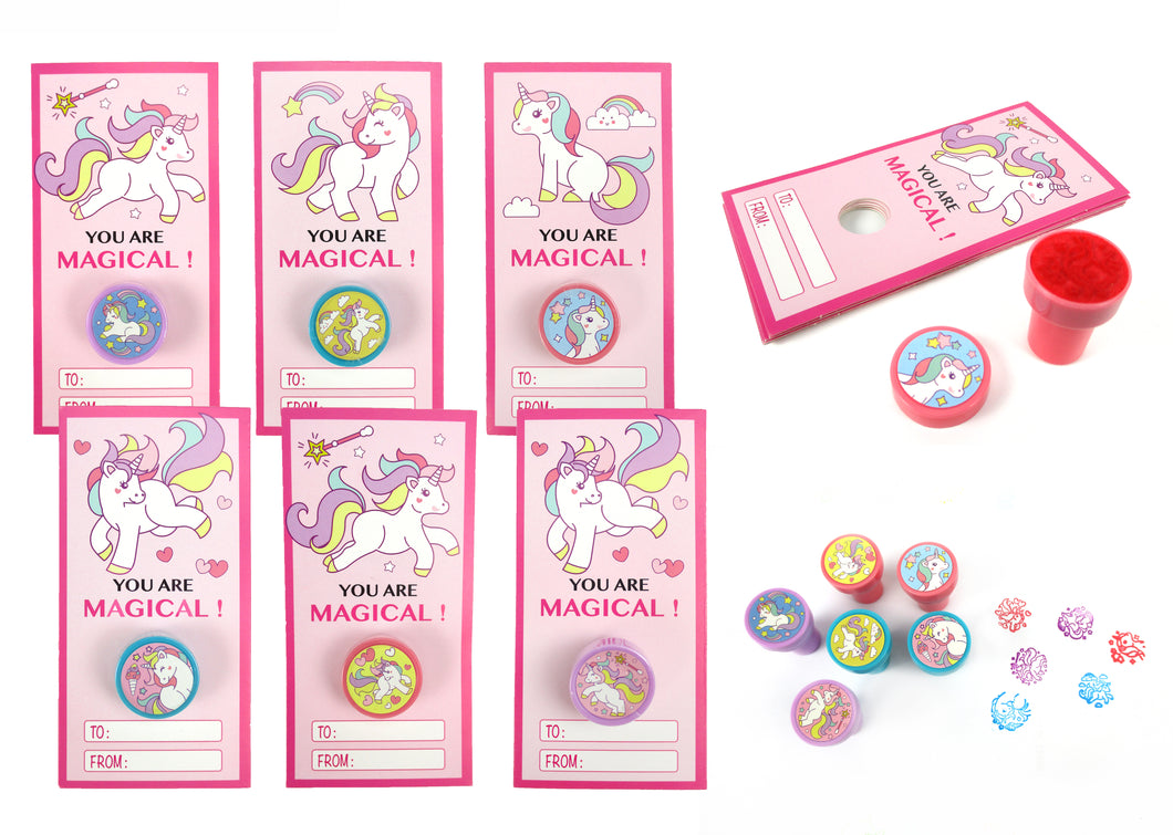 Unicorn Valentine's Day Cards with Stampers for Classroom Exchange