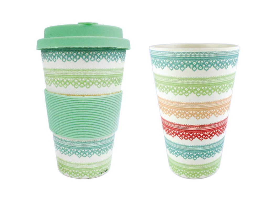 Eco-Friendly Reusable Plant Fiber Travel Mug with Lace Design