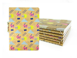 80's Geometric Retro Journal Notebooks - Set of 6 or 12