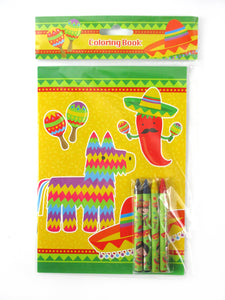 Fiesta Coloring Books with Crayons Party Favors - Set of 6 or 12