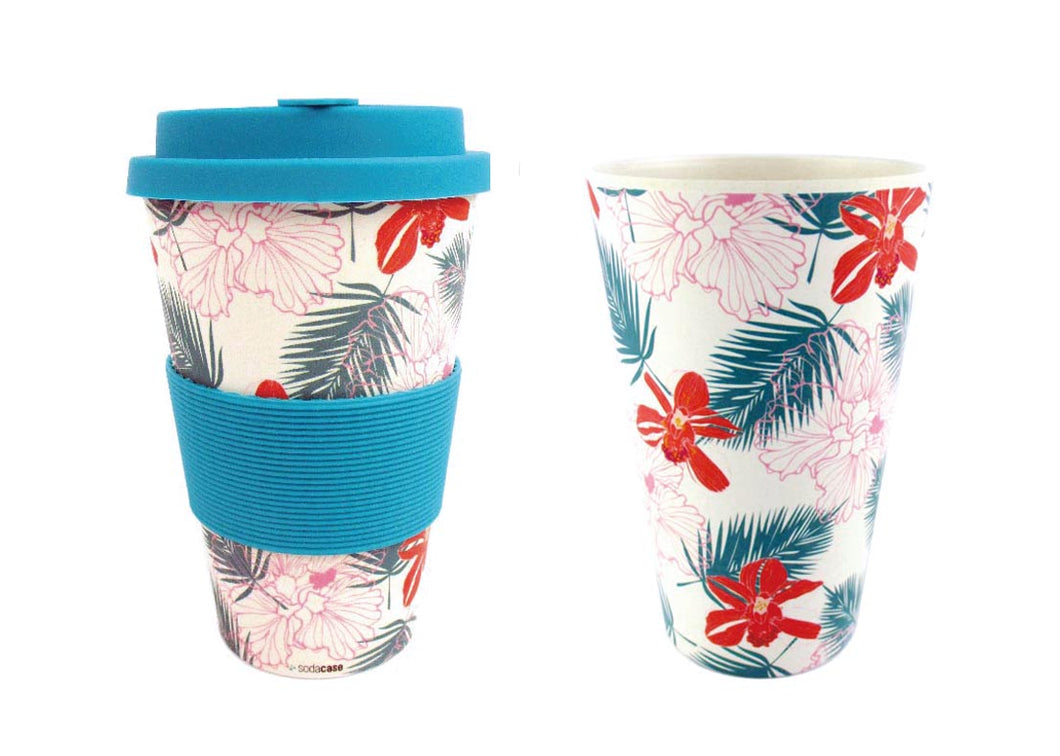 Eco-Friendly Reusable Plant Fiber Travel Mug with Tropical Paradise Design