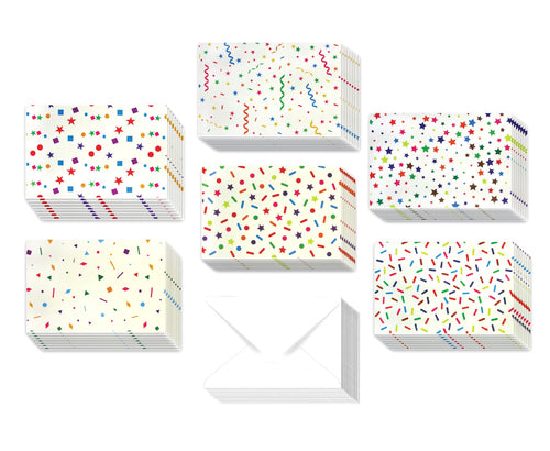 Rainbow Confetti - 36 Pack Assorted Greeting Cards for All Occasions - 6 Designs