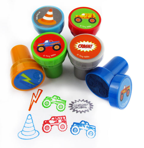 TINYMILLS 24 Pcs Monster Truck Stampers for Kids