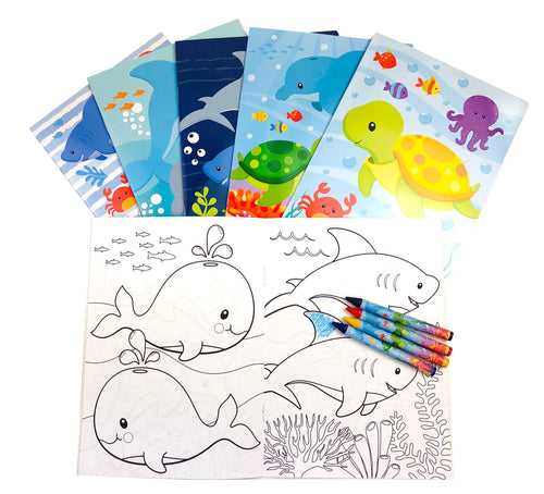 Sea Life Ocean Animals Coloring Books with Crayons Party Favors - Set of 6 or 12 - Coloring Books | Tiny Mills®