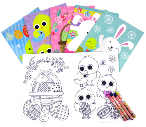Easter Coloring Books with Crayons Party Favors, Set of 12