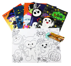 Halloween Coloring Books with Crayons Party Favors, Set of 12 - Coloring Books | Tiny Mills®