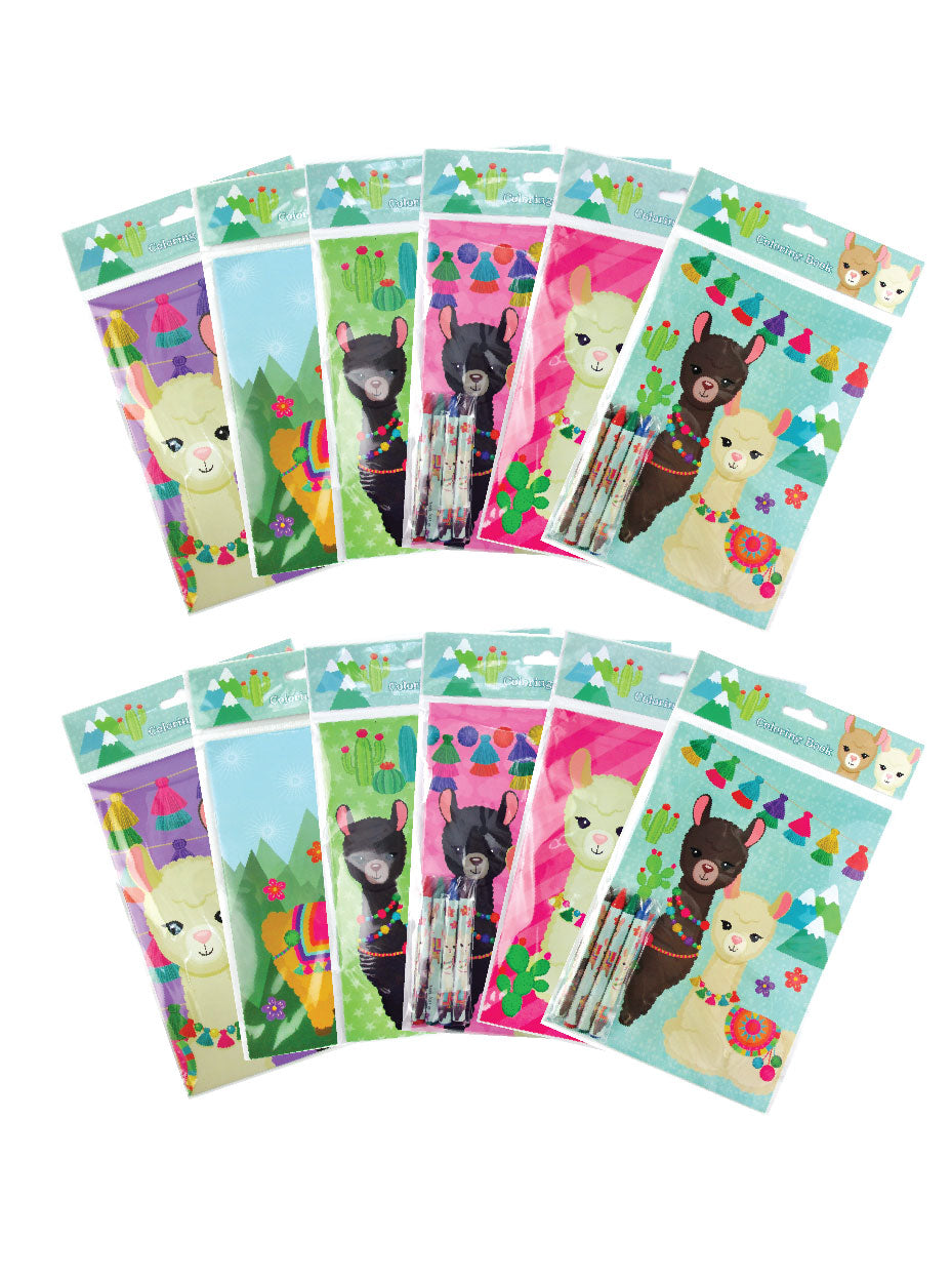 llamas coloring books with crayons party favors set of 12 tiny mills