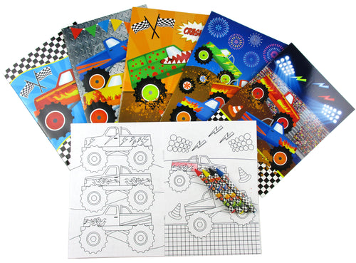 Monster Truck Coloring Books with Crayons Party Favors, Set of 12