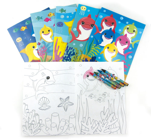 Shark Family Coloring Books with Crayons Party Favors, Set of 12 $ 14.99 Tiny Mills®
