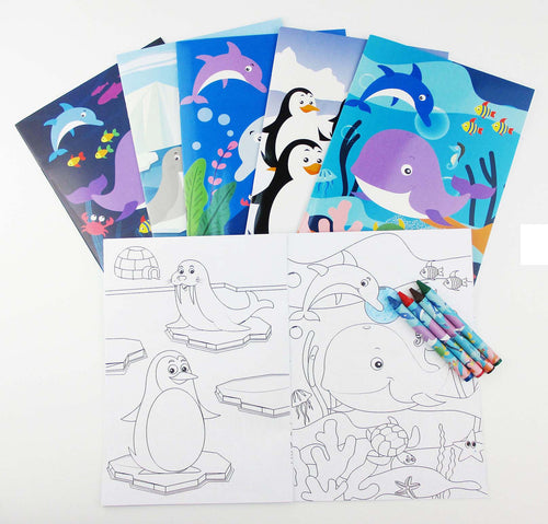 Ocean Life Coloring Books with Crayons Party Favors - Set of 6 or 12
