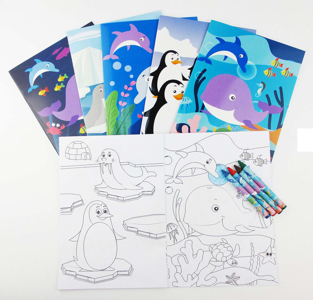 Ocean Life Coloring Books with Crayons Party Favors, Set of 12