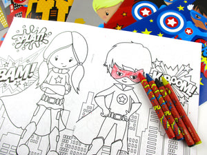 Superhero Coloring Books with Crayons Party Favors, Set of 12 - Coloring Books | Tiny Mills®