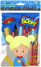 Load image into Gallery viewer, Superhero Coloring Books with Crayons Party Favors - Set of 6 or 12