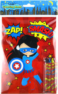 Superhero Coloring Books with Crayons Party Favors - Set of 6 or 12