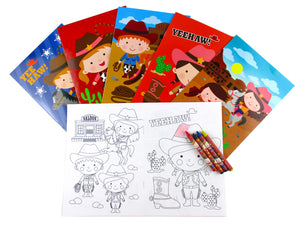 Western Cowboy Cowgirl Coloring Books with Crayons Party Favors - Set of 6 or 12