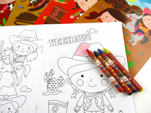 Load image into Gallery viewer, Western Cowboy Cowgirl Coloring Books with Crayons Party Favors - Set of 6 or 12