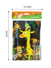 Load image into Gallery viewer, Zoo Jungle Safari Animals Coloring Books with Crayons Party Favors, Set of 12