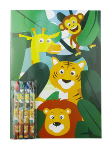 Zoo Jungle Safari Animals Coloring Books with Crayons Party Favors, Set of 12