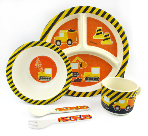 TINYMILLS 5-Piece Eco-Friendly Plant Fiber Dinnerware Set with Construction Trucks Design $ 19.95 Tiny Mills®