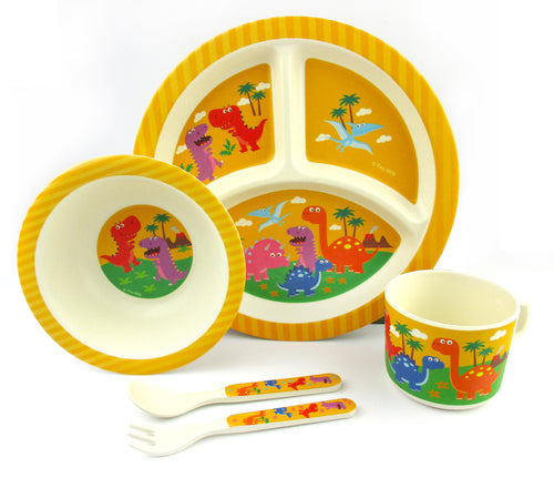 TINYMILLS 5-Piece Eco-Friendly Plant Fiber Dinnerware Set with Dinosaur Design