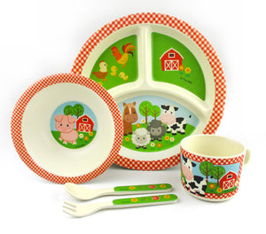 TINYMILLS 5-Piece Eco-Friendly Plant Fiber Dinnerware Set with Farm Animals Design - | Tiny Mills®