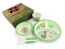 Load image into Gallery viewer, TINYMILLS 5-Piece Eco-Friendly Plant Fiber Dinnerware Set with Llama Design
