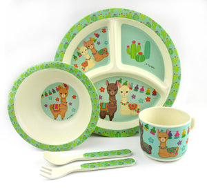 TINYMILLS 5-Piece Eco-Friendly Plant Fiber Dinnerware Set with Llama Design - | Tiny Mills®